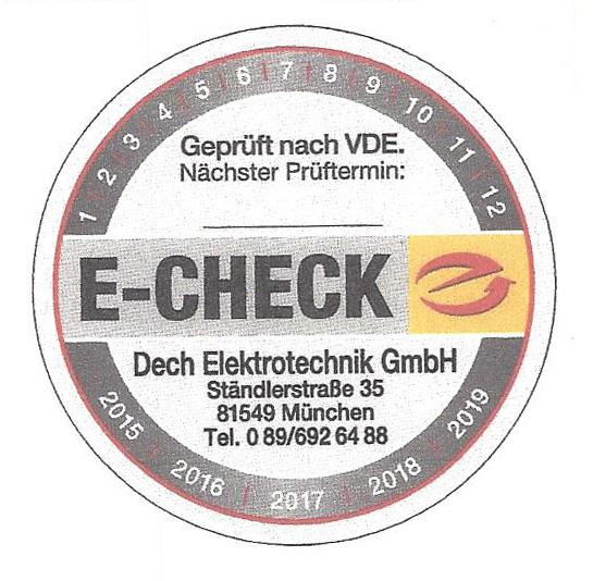 E-Check Plakette, Elektrotechnik Dech, München